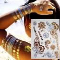 Tatouage ephemere doré et argent fleur pour poignet