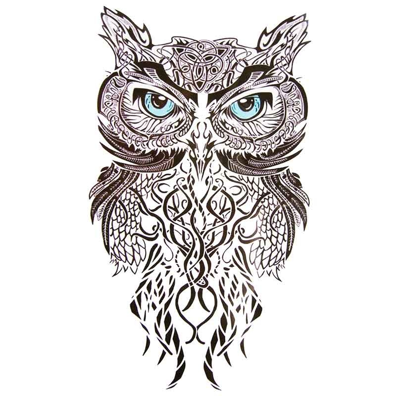 tatouage ephemere hibou tribal tempo tattoo. Black Bedroom Furniture Sets. Home Design Ideas