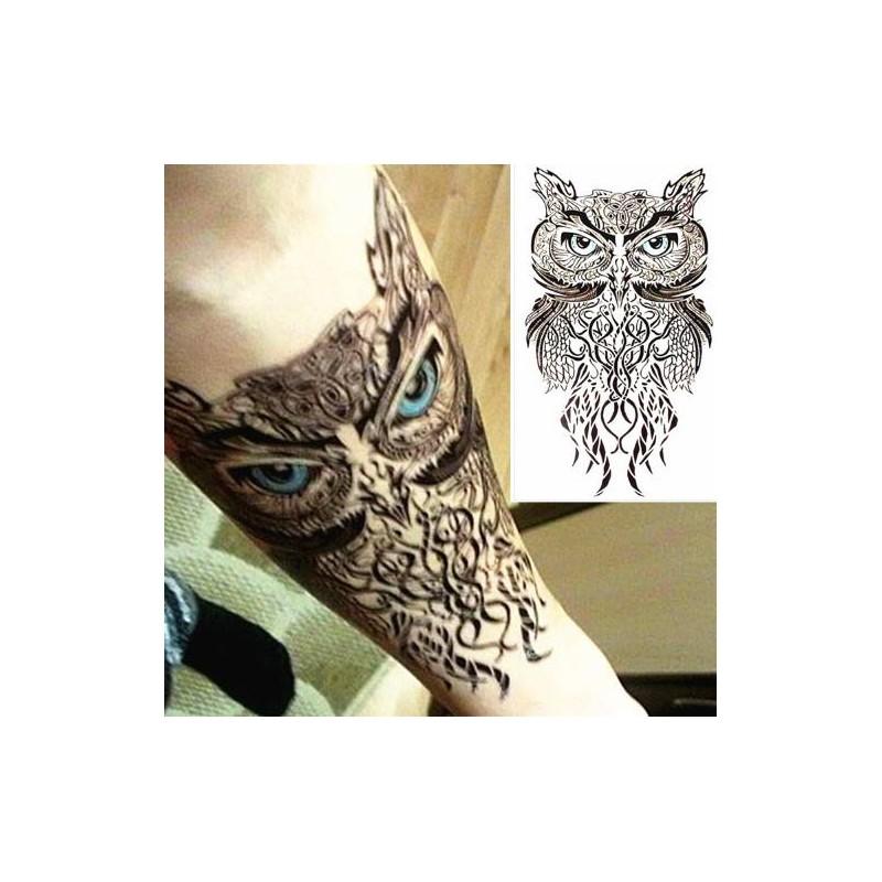 tatouage ephemere hibou tribal