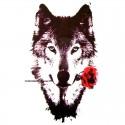 Tatouage temporaire loup et rose rouge