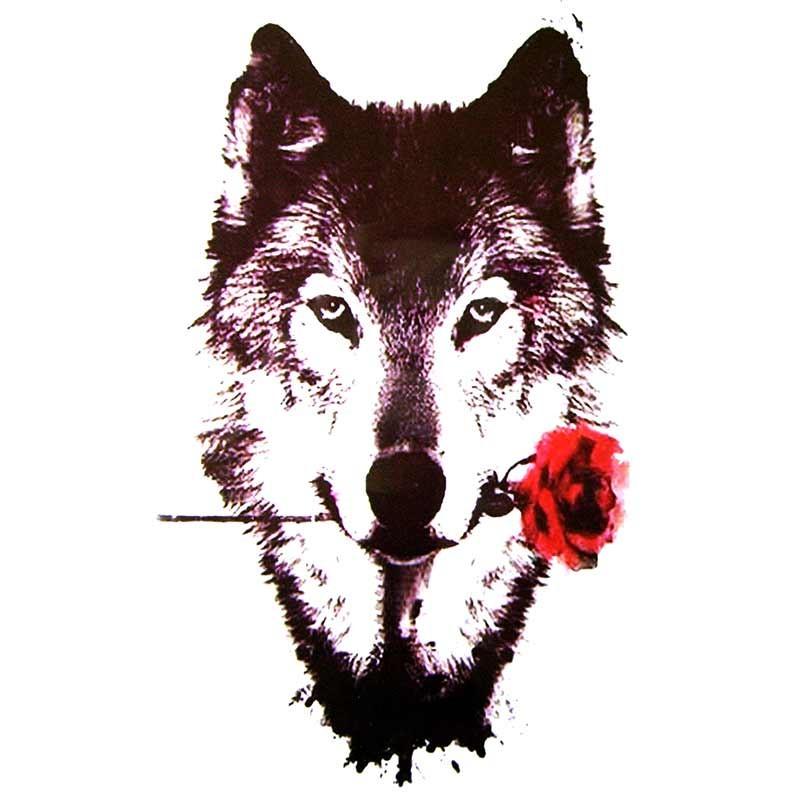 Tatouage temporaire loup et rose rouge tempo tattoo - Tete de loup tatouage ...