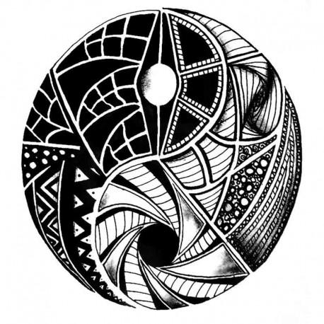 Tatouage,temporaire,mandala,Yin,Yang