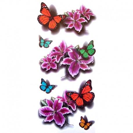 Tatouage-ephemere-papillon-et-hibiscus-rose
