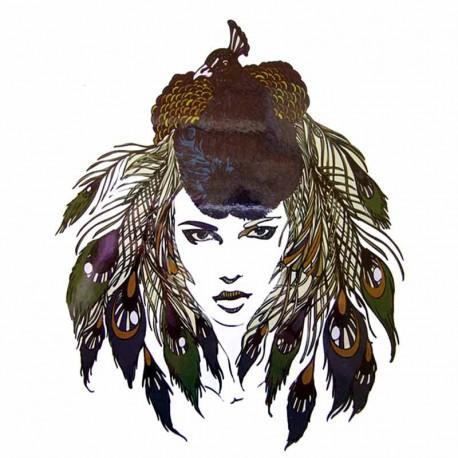 Tatouage-ephemere-portrait-femme-au-paon