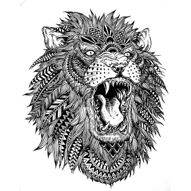 Tatouage ephemere lion tempo tattoo - Tete de lion tatouage ...