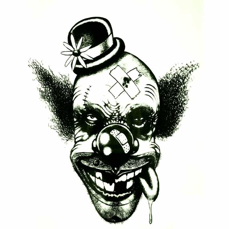 Tatouage ephemere t te de clown tempo tattoo - Tete de clown a imprimer ...