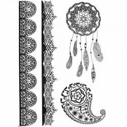 Tatouage dentelle éphémère capteur de rêves et mandala