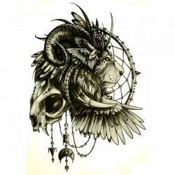 Tatouage-ephemere-Lion-et-attrape-rêves