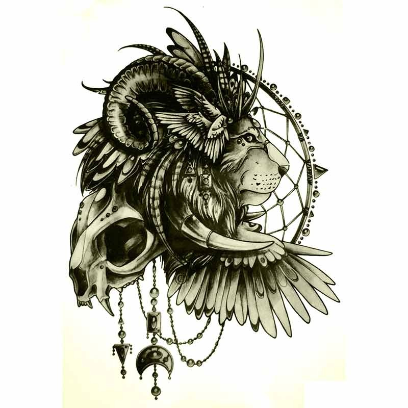 Tatouage ephemere lion et attrape r ves tempo tattoo - Tatouage attrape reve homme ...