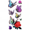 Tatouage ephemere papillon 3D et rose rouge