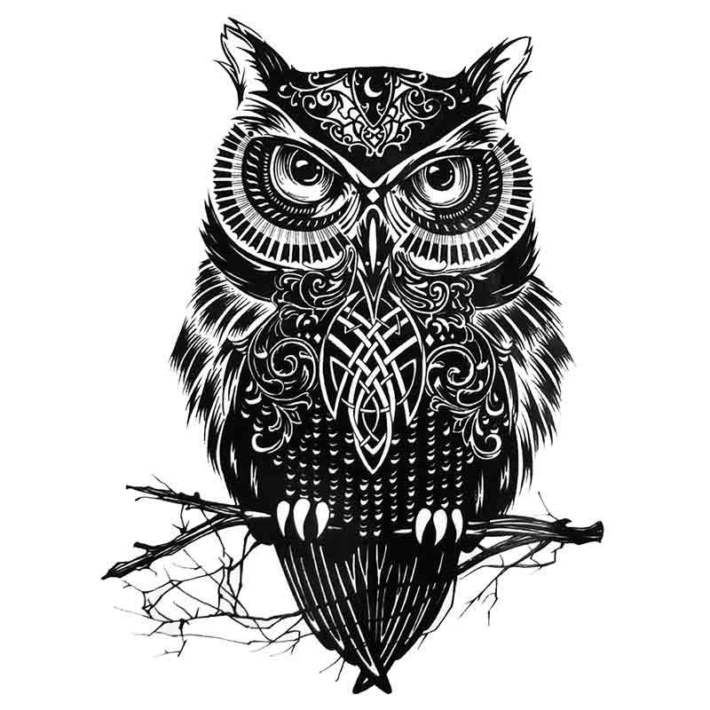 tatouage ephemere tribal hibou tempo tattoo. Black Bedroom Furniture Sets. Home Design Ideas