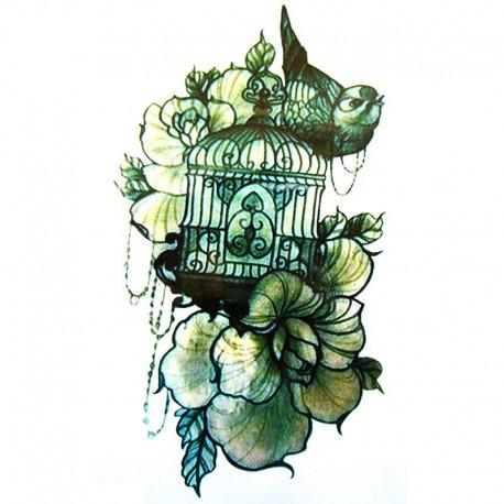 tatouage temporaire et ph m re cage oiseaux vintage. Black Bedroom Furniture Sets. Home Design Ideas