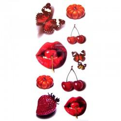 Tatouage-ephemere-bouche-et-cerise-rouge