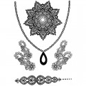 Tatouage dentelle temporaire collier et fleur de vie
