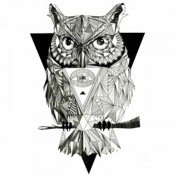 Tatouage-ephemere-Hibou-tribal-graphique
