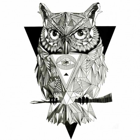 Tatouage,ephemere,Hibou,tribal,graphique