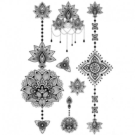 tatouage temporaire et ph m re fleurs de henn style oriental. Black Bedroom Furniture Sets. Home Design Ideas