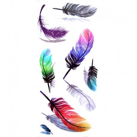 Tatouage-ephemere-plume-multicouleur-3-D
