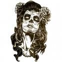 Tatouage éphémère portrait femme mexicaine
