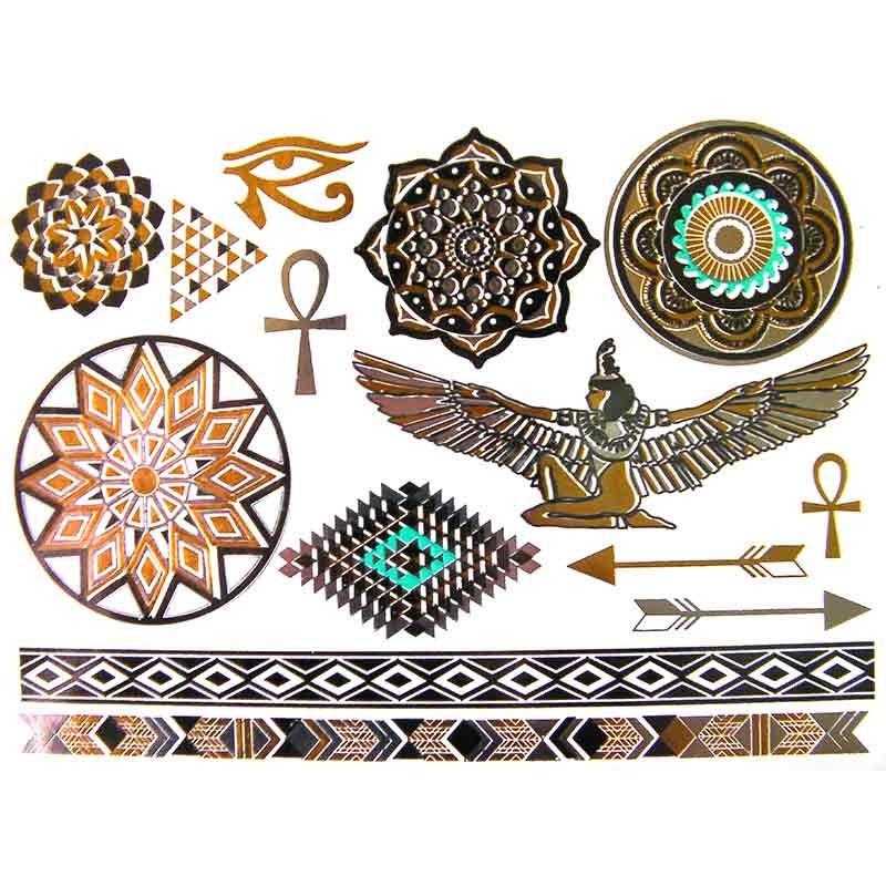 tatouage ph m re et temporaire dor et argent cl opatre et mandala. Black Bedroom Furniture Sets. Home Design Ideas