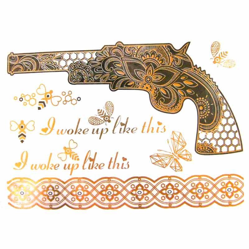 Tatouage ph m re dor et argent revolver - Tatouage ephemere dore ...