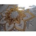 Tatouage éphémère doré et argent fleur de vie et écriture