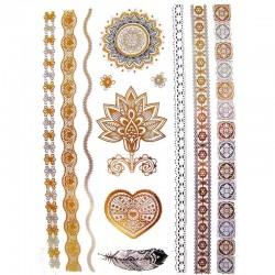 Tatouage-ephemere-coeur-fleur-et-mandala-métallique