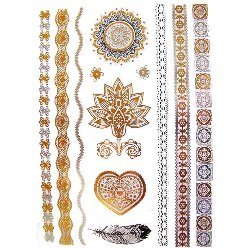 tatouage ph m re et temporaire coeur fleur mandala dor et argent. Black Bedroom Furniture Sets. Home Design Ideas