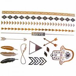 tatouage-temporaire-main-de-fatma-fleche-plume-et-bracelet-metallique