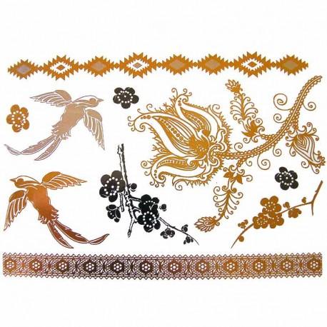 tatouage-temporaire-metallise-oiseaux-et-fleurs