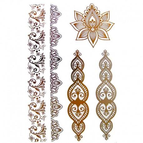 tatouage ph m re dor et argent fleur de henn et bracelets. Black Bedroom Furniture Sets. Home Design Ideas