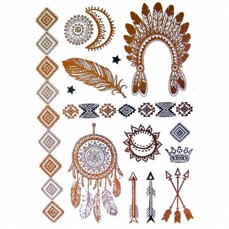 Tatouage Temporaire Metallique Coiffe Indienne Et Attrape Reves