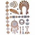 Tatouage temporaire métallique coiffe indienne et attrape rêves