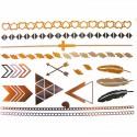 tatouage temporaire métallique graphique, plume et croix