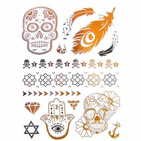 tatouage-temporaire-metal-crane-plume-et-main-de-fatma