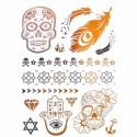 Tatouage temporaire métal crâne, plume et main de fatma