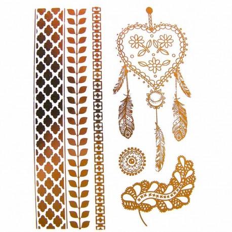 tatouage-metallique-dore-attrape-reves-coeur
