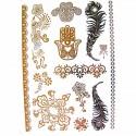 Tatouage éphémère métallique main de fatma, fleur et attrape rêves