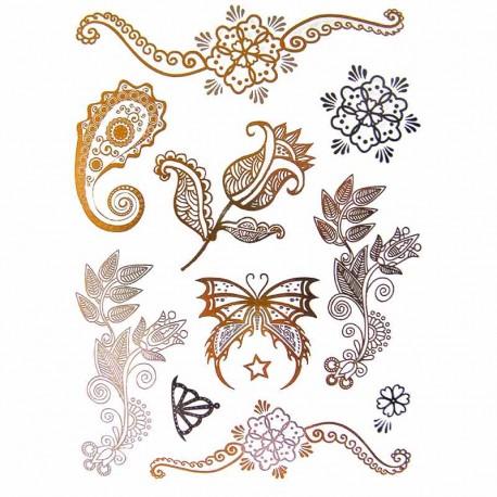 tatouage-poraire-metallique-fleur-et-papillons