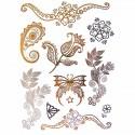 Tatouage temporaire métallique fleur et papillons