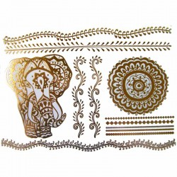 tatouage-temporaire-metallique-dore-elephant-et-mandala