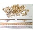Tatouage éphémère métallisé fleur de henné et bracelet