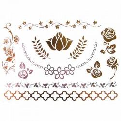 tatouagere-metallise-rose-et-collier-de-fleur