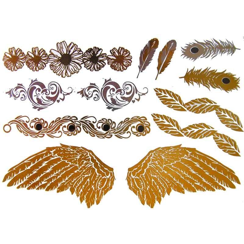 Tatouage temporaire m tallique ailes d 39 ange et plume de paon - Tatouage ailes d ange ...