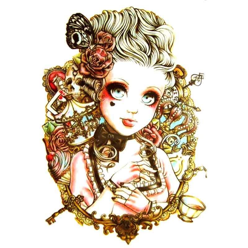 Lady vintage tatouage éphémère L