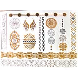 tatouage-temporaire-dore-et-argent-fleur-mandala-et-arabesque