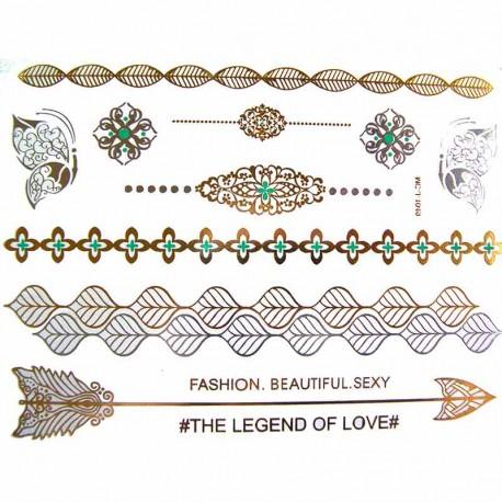 tatouages-ephemere-dore-argentee-et-turquoise-bracelet-fleche
