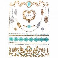 tatouages-ephemeres-dores-et-argentes-collier-turquoise
