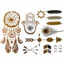Tatouages éphémères métalliques main de fatma et attrape rêves