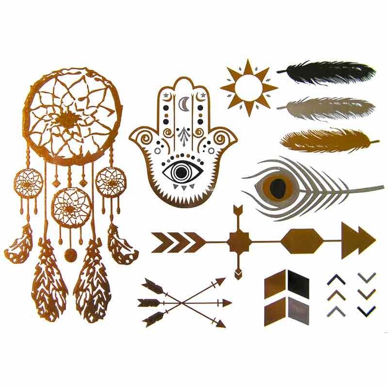 tatouages ephemere dor tatouage temporaire dor attrape reve. Black Bedroom Furniture Sets. Home Design Ideas